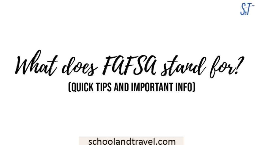 What does FAFSA stand for